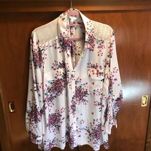 Flowers and lace blouse